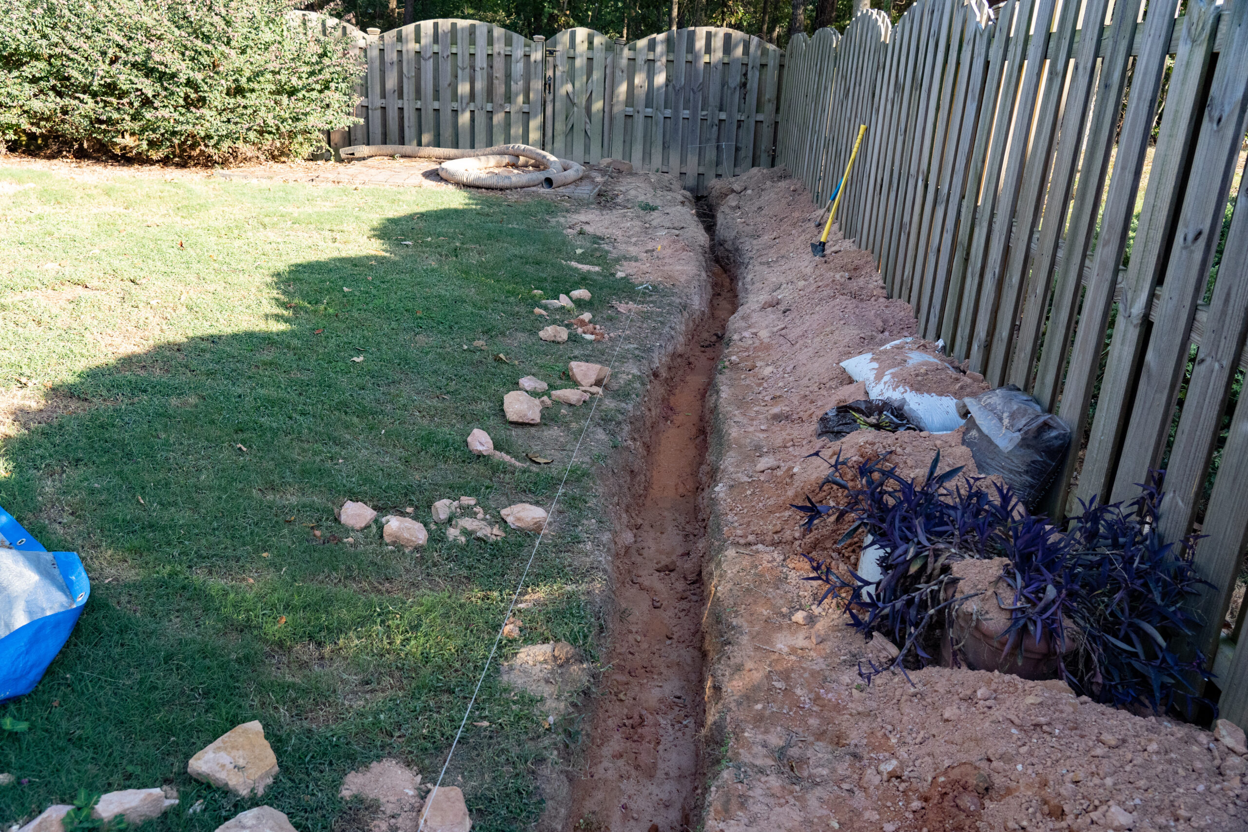 French drain being built